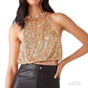 New FREE PEOPLE Lights Out Sequin Halter Top SZ L